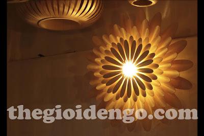 Thế Giới Đèn Gỗ - Đèn gỗ trang trí hoa cúc 2