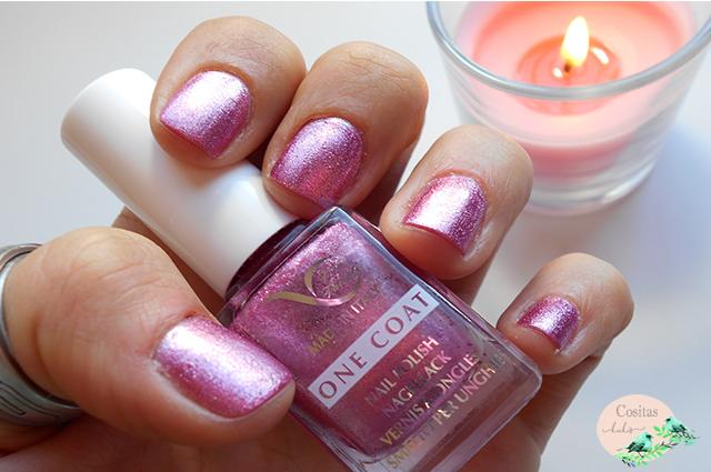 Imagen esmalte vera valenti V126  rosa con pequeños shimmers plateados