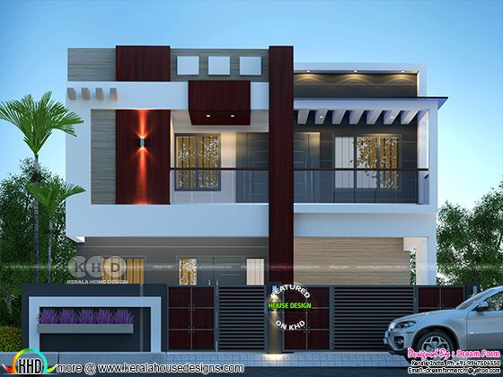 Modern front elevation rendering with fence