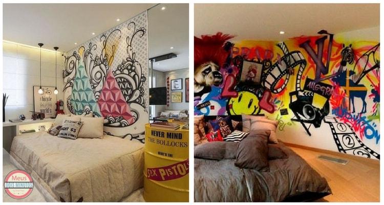 grafite parede de quarto feminino