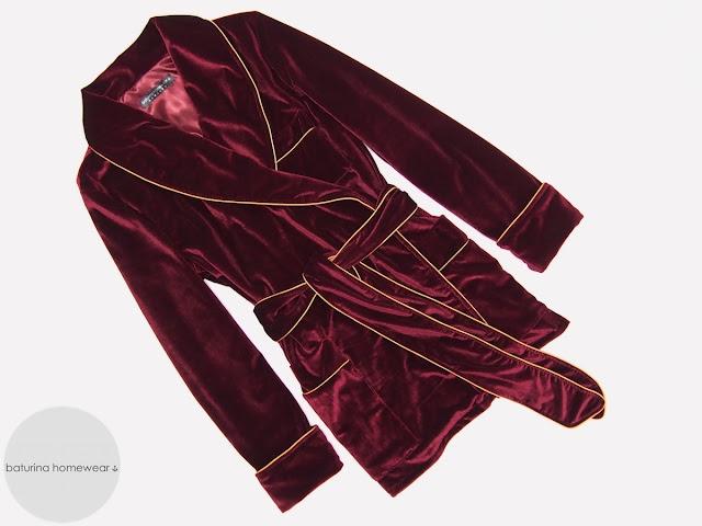 Burgundy velvet smoking jacket womens red dressing gown lounge robe