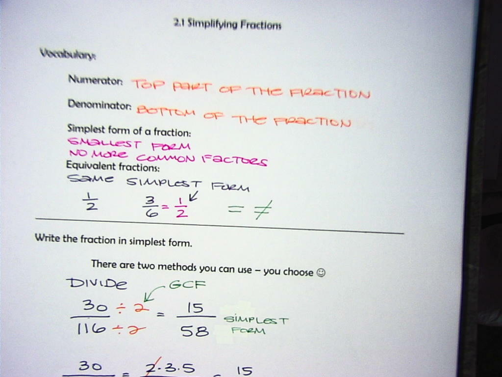 Mrs Shaw S Site Pre Algebra Ch 2 1 Equivalent Fractions