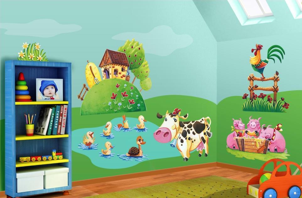 Pareti colorate per bambini dw68 pineglen for Decorazioni pareti cameretta neonato