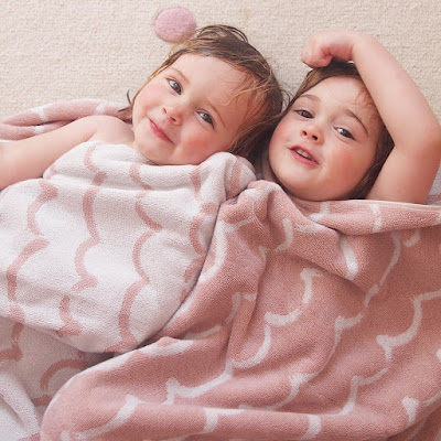 Anorak pink wave towels are perfect for bath time