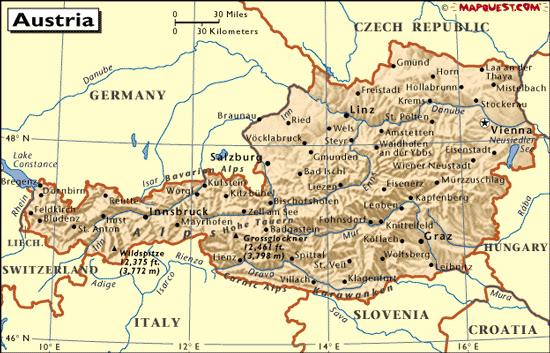 Mapas Geográficos da Áustria