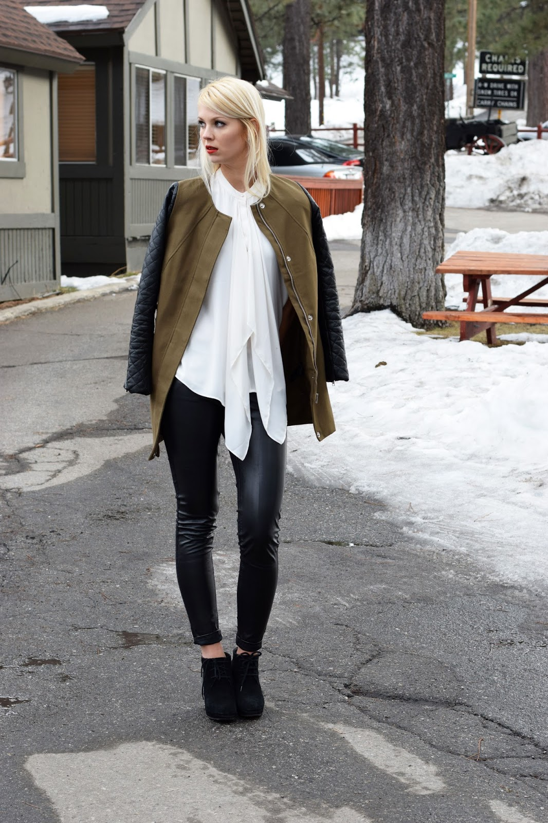 olive green coat, coat, office wear, leather pants, big bear, snow, blouse