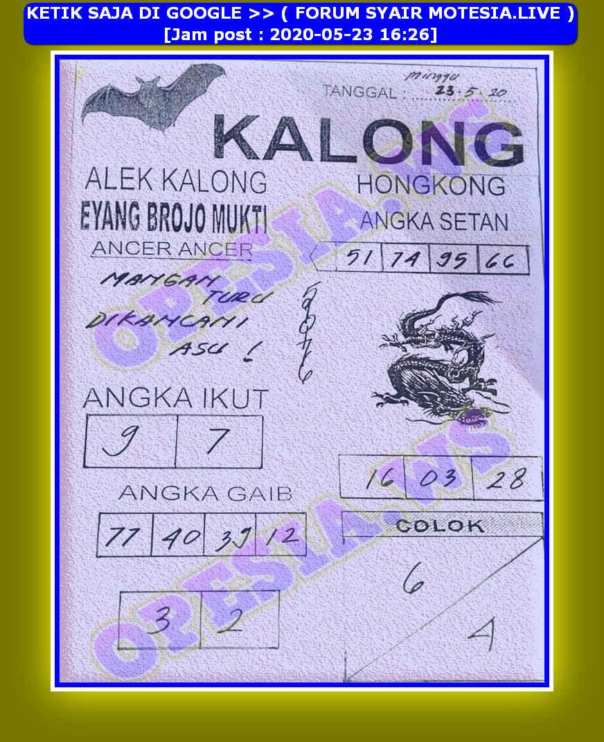 Kode syair Hongkong Sabtu 23 Mei 2020 48