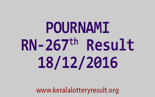 POURNAMI RN 267 Lottery Results 18-12-2016