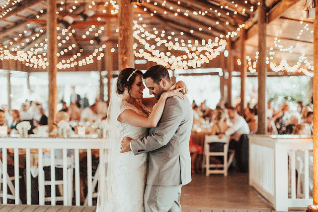 bride and groom first dance at paradise cove