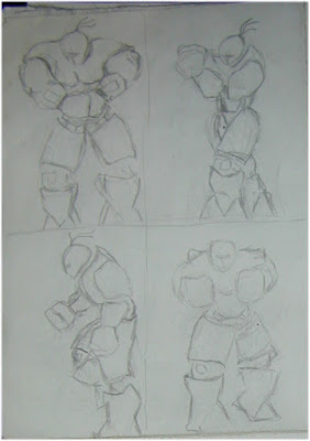 Stone Golem Poses 2 drawing