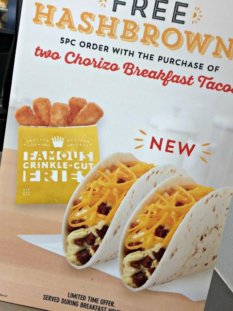 free hashbrowns, chorizo, del taco