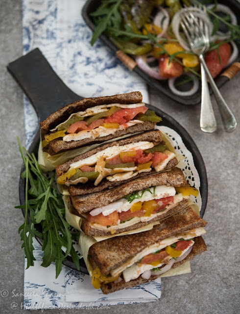 roasted pickled bell peppers and paneer sandwiches