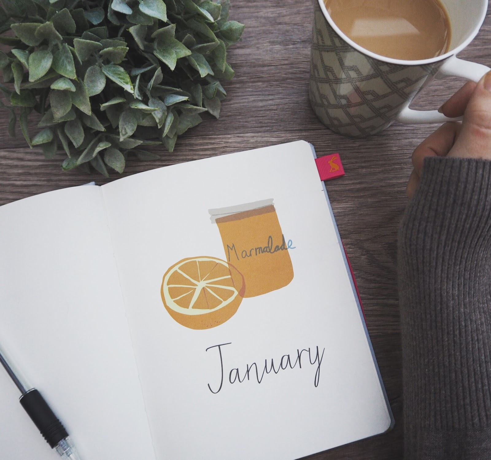 Diary displaying 'January' front page & Cup of tea