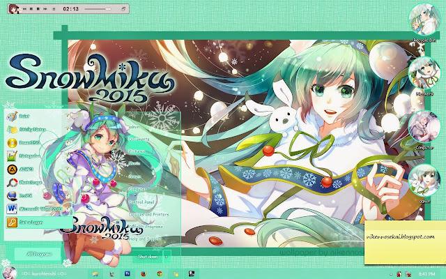 Yuki Miku 2015 Windows 7 Theme