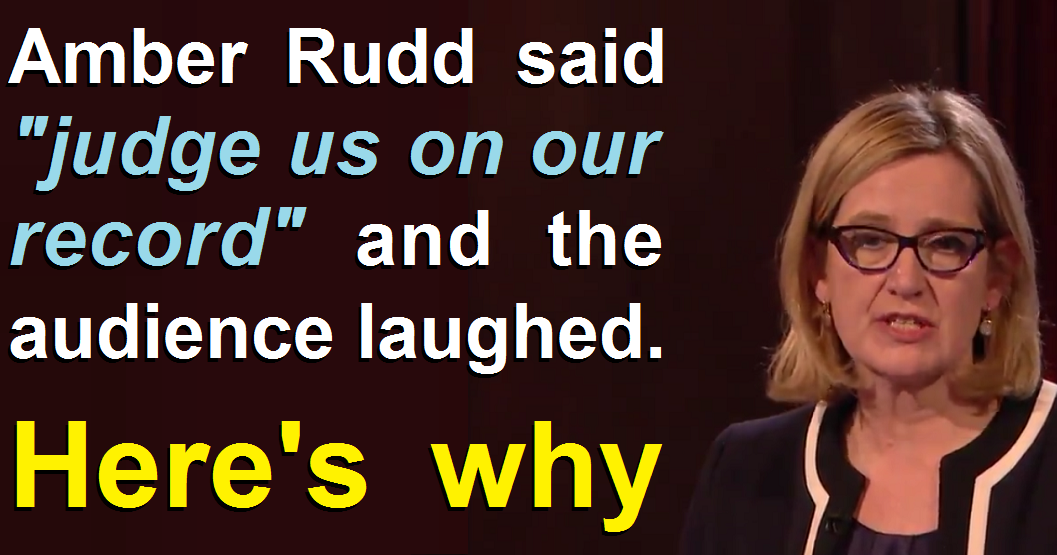 """Amber Rudd said """"judge us on our record"""" so here goes ..."""