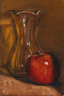 Oil painting of a tulip-shaped glass vase beside a red apple.