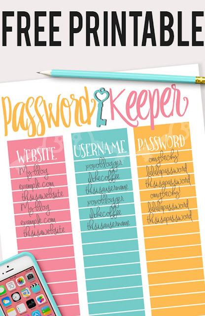 Password keeper free printable