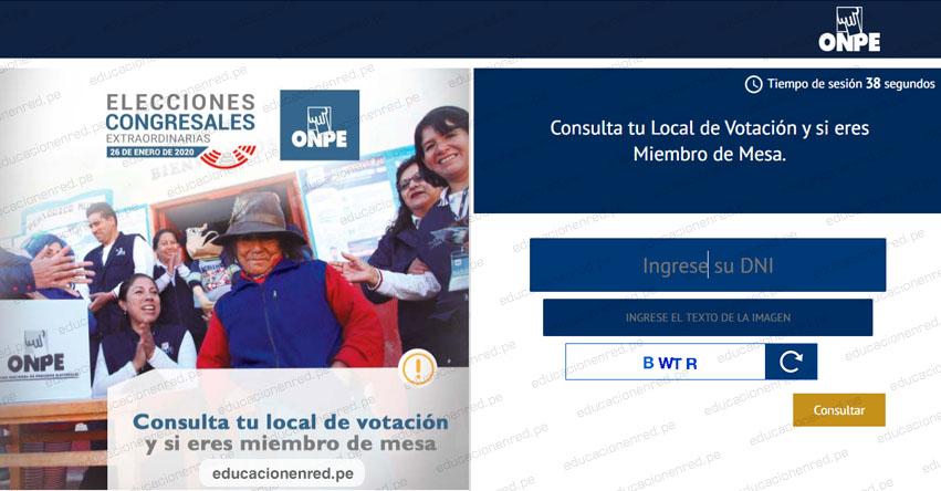 ELECCIONES 2020: Últimos días para conocer tu Local de Votación y si eres Miembro de Mesa - ONPE - www.onpe.gob.pe