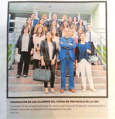 Olga Casal. Clausura curso especialista protocolo, comunicación, Universidad A Coruña