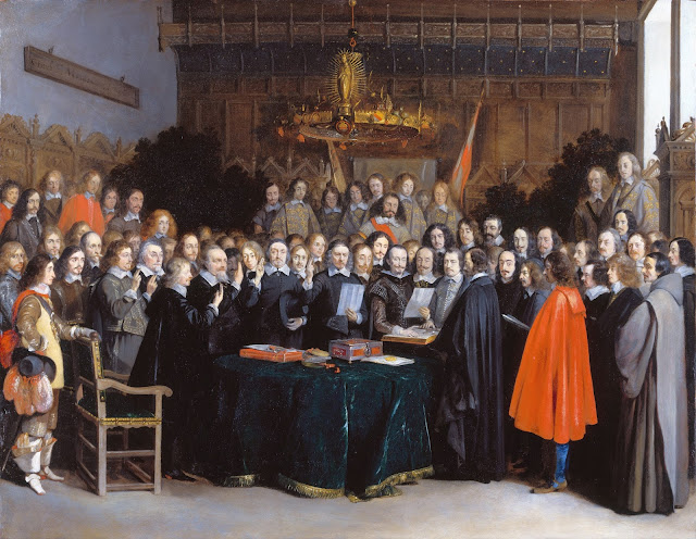 The Ratification of the Treaty of Münster, 15 May 1648 by Gerard ter Borch (1648) which was a large part of the Peace of Westphalia