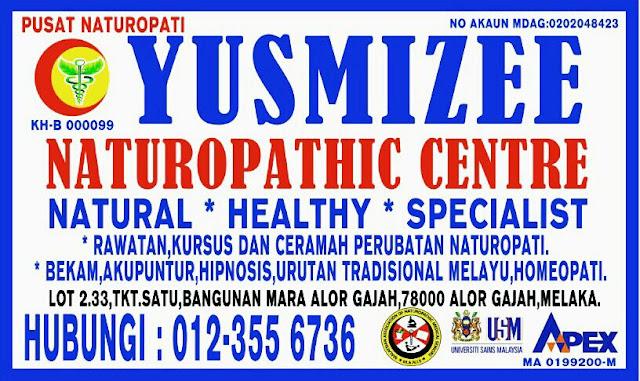 Yusmizee Naturopathic Centre, Alor Gajah, Melaka, Pusat Rawatan Perubatan Alternatif dari rangkaian Pertubuhan Pengamal Utama Naturopati Malaysia.