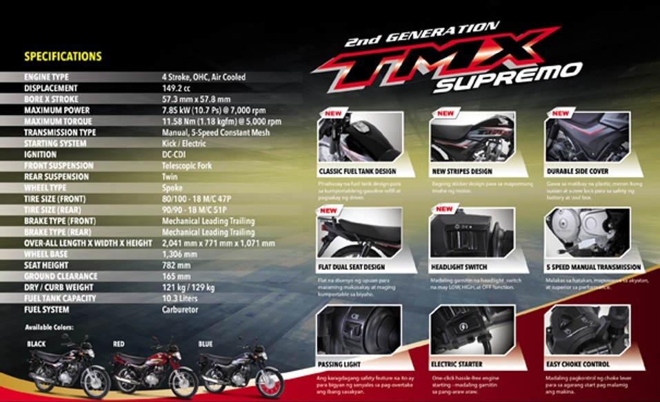 Honda 2nd Generation TMX Supremo Specs