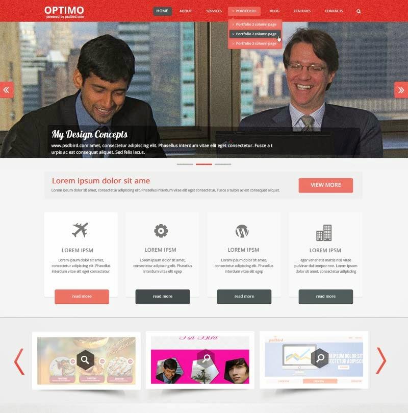 Optimo - Free Responsive Web Template PSD