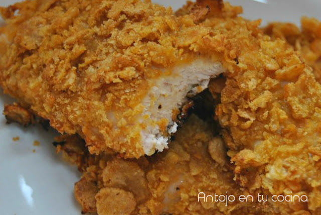 Honey and mustard crispy chicken {baked without egg}