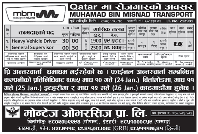 Jobs in Qatar for Nepali, Salary Rs 78,405