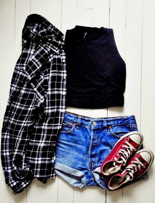 summer casual outfit - denim shorts, converse, crop top, & plaid shirt
