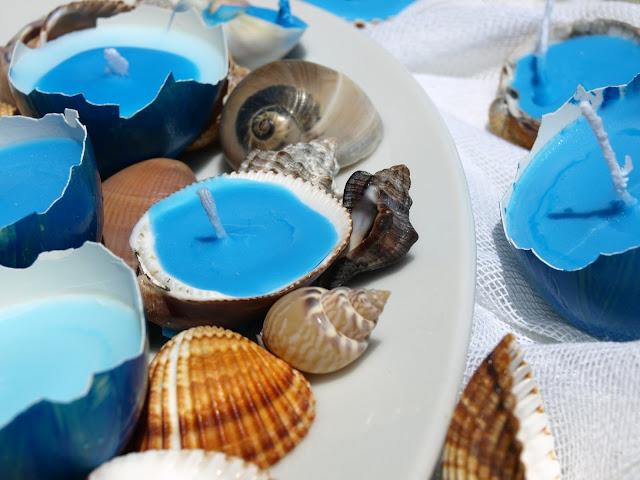 Διακόσμηση-με-κοχύλια-και-κεριά
