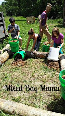 kids preparing garden