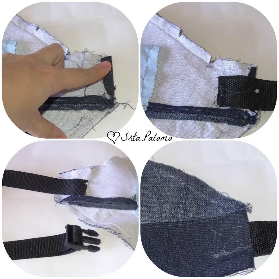 Tutorial riñonera: unimos la tira de la cintura a la riñonera