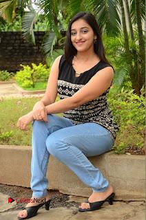 Actress Mouryani Pictures in Denim Jeans at Ardhanari Movie Success Meet  0190