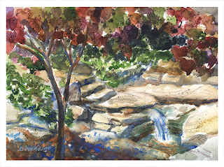 Crystal Springs, Crystal Bridges Art Museum, watercolor, Erika Nelson, plein air artist, PAPO, ArtByErika