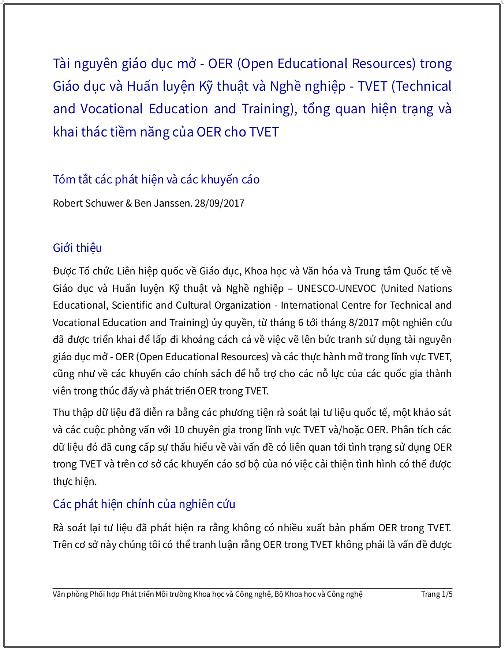 'OER trong TVET - Tổng quan hiện trạng và khai thác tiềm năng của OER trong TVET' - bản dịch sang tiếng Việt