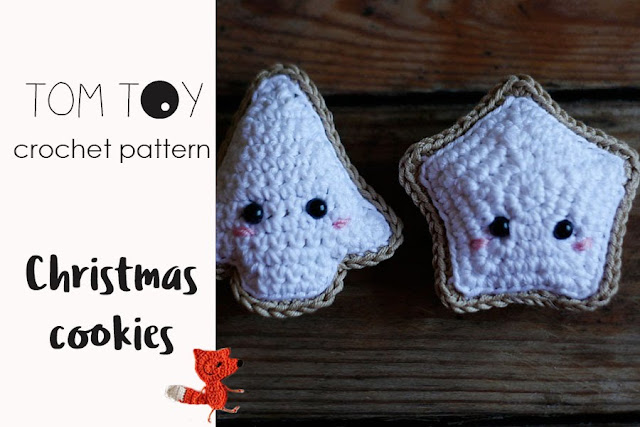 Christmas cookies crochet pattern by TomToy, Amigurumi crochet toy, Crochet ornament, Handmade DIY gift for Christmas
