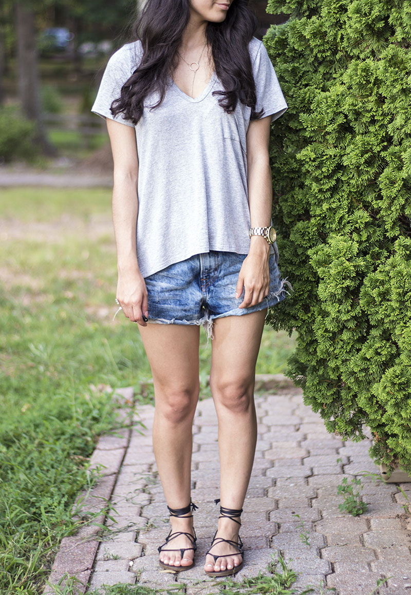 Lush heather grey tee #nsale paired with boyfriend shorts and lace up sandals