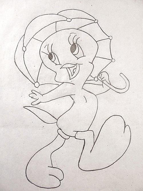 Pencil Drawing of Tweety Bird
