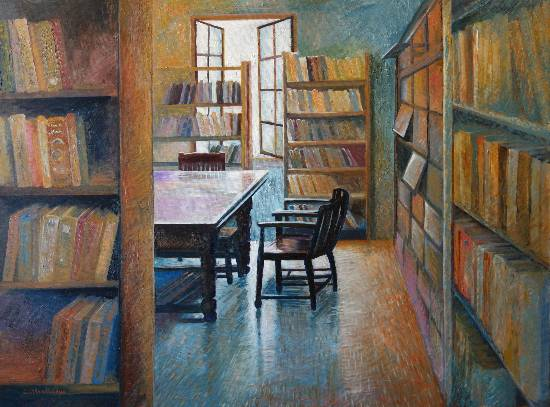 World of Books, painting by Chitra Vaidya, Oil on Canvas, 36 x 48 inches (www.indiaart.com)