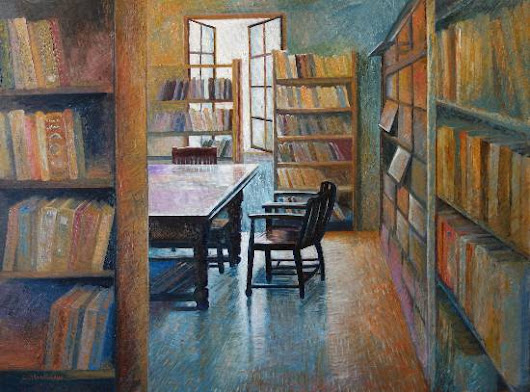 """World of Books"", Oil painting by Chitra Vaidya is part of her series titled ""Beautiful Spaces"""