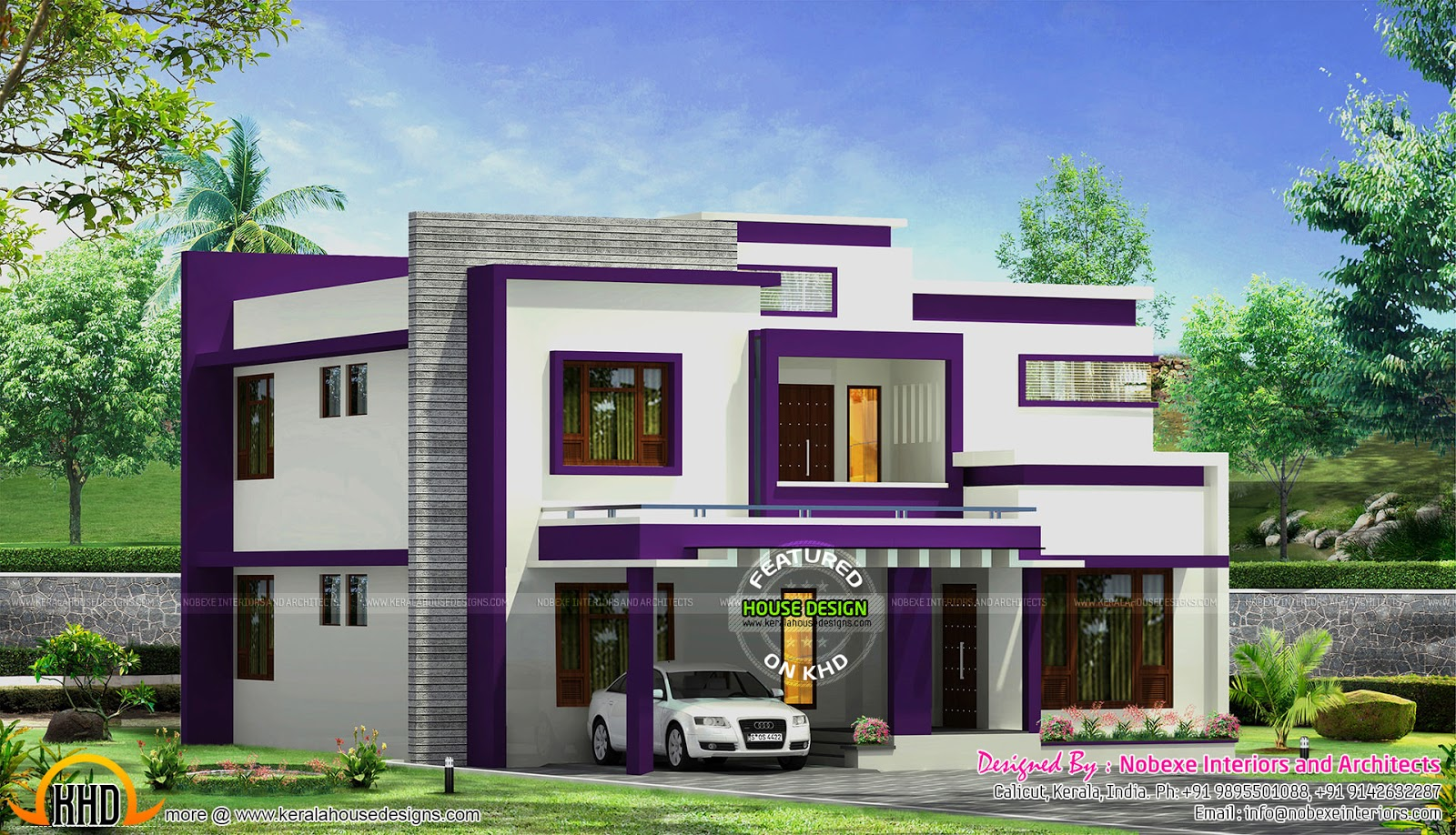 Contemporary home design by nobexe interiors kerala home for Modern house designs and floor plans in india