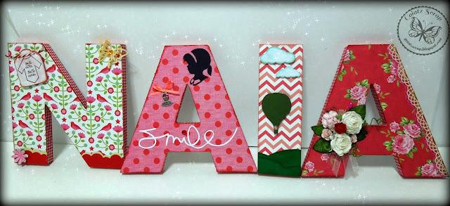 Letras decoradas para naia aprender manualidades es - Letras decoradas scrap ...