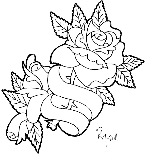Banners With Hearts And Roses Coloring Pages