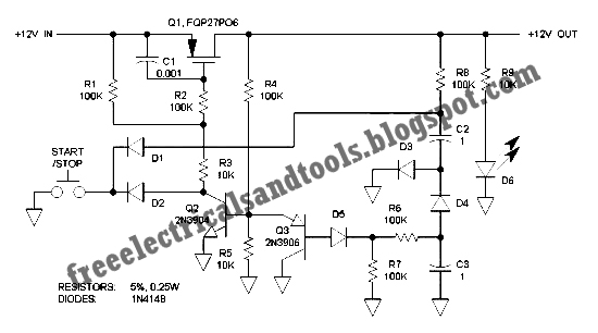 Free Schematic Diagram: Single Pushbutton Run-Stop Circuit