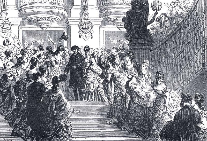 Salida triunfal de Charles Garnier en la inauguración de la Ópera Garnier