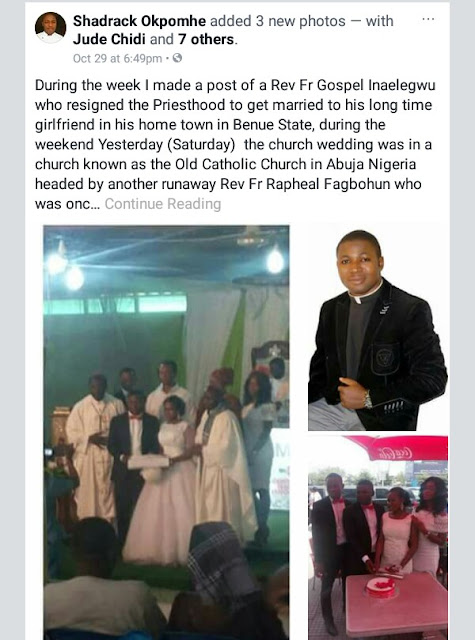 Photo from the white wedding of priest who quit Catholic Church