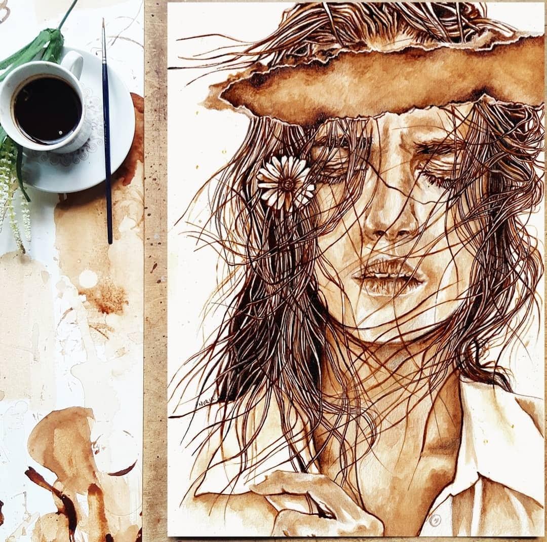 06-Haunting-Memory-Nuria-Salcedo-Detailed-Portrait-Paintings-Using-Coffee-www-designstack-co