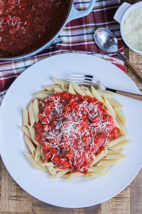 This flavorful and delicious Christmas Eve Pasta has become a holiday tradition in our house. It can feed a crowd, and the sauce can be made ahead, making it the perfect holiday dish!