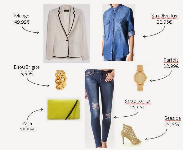 Olivia Palermo - Calças e camisa de ganga blazer branco, clutch amarela, sandálias douradas das lojas low-cost